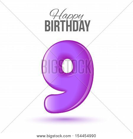 Ninth birthday greeting card template with 3d shiny number nine balloon on white background. Birthday party greeting, invitation card, banner with number 9 shaped balloon on white background