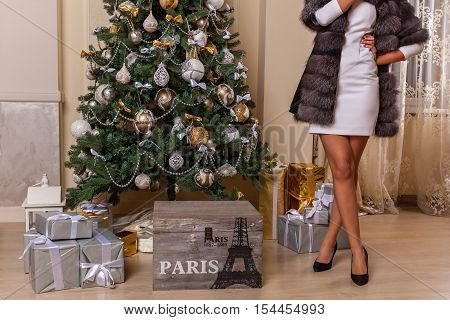 Girl in the New Year.The figure of girl in the dress and fur coat standing at the decorated Christmas tree.