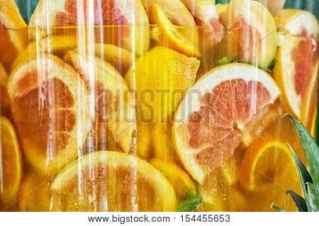 Sliced orange in juice. Tasty refreshment. Food and drink. Healthy lifestyle. Vibrant colors.