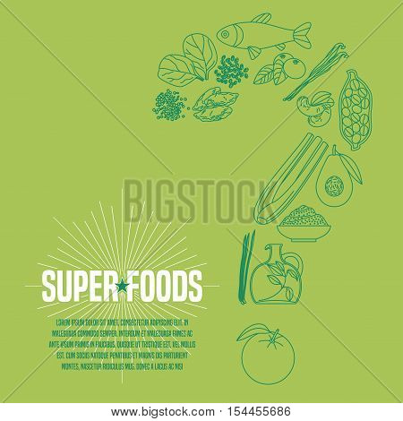Selection of superfoods products, berries, green in vector. Thin line icons, design elements, article with cocoa beans, wheatgrass, acai seeds, spirulina, quinoa for super food