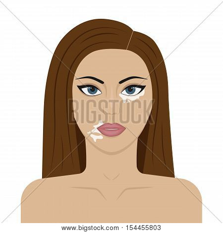 Vector Illustration Of A Young Girl With Symptoms Of Vitiligo On The Face. Skin Pigmentation.