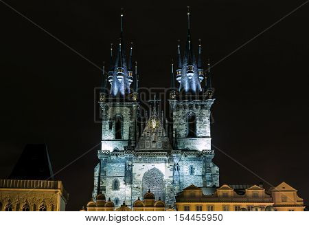 Church of Our Lady in front of Tyn in Prague at night