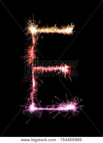 Sparkler Firework Light Alphabet E (capital Letters) At Night