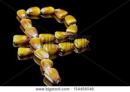 Corn Kernels Forming Ruble Symbol. Corn Market. Corn Kernels.