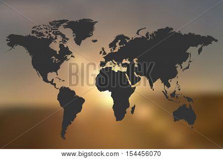 World Map sunset background illustration
