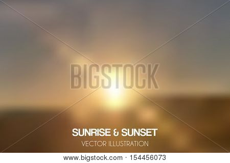 Realistic sunset and sunrise blur illustration