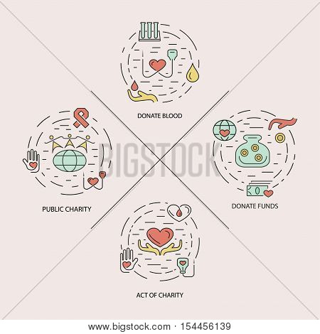 Charity design concept set with money, blood and medical donations thin line icons isolated vector illustration