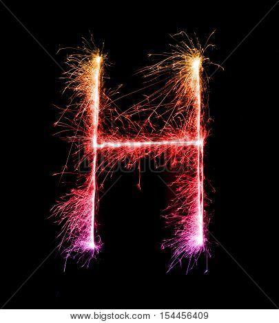 Sparkler Firework Light Alphabet H (capital Letters) At Night