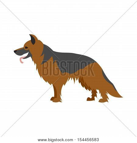 German shepherd dog. Pet breed and mammal pedigree domestic, vector illustration
