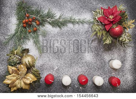 Greeting card with festive decoration on snow background mimicking sugar