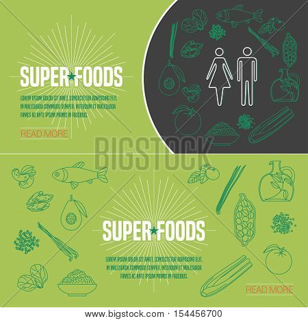 Set of superfoods products, berries, roots in vector. Icons, design elements, internet banners with cacao beans, goji berry, spirulina for super food vegetarian eating concept