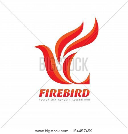 Fire Bird - vector logo template concept illustration. Abstract flame creative sign. Phoenix mytphology symbol. Design element.