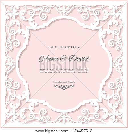 Wedding invitation card template with laser cutting frame. Pastel pink and white colors. Can be used for filigree envelope design.