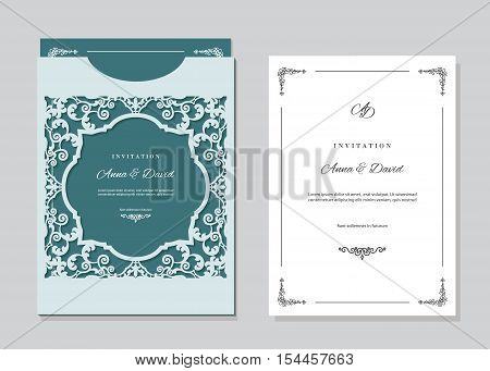 Wedding invitation card and envelope template with laser cutting filigree frame. Emerald and light blue contrast colors.