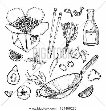 Hand Drawn Vector Illustration - Wok. Wok Box, Wok Pan, Chinese Noodles, Tomato, Pepper, Shrimp, Soy