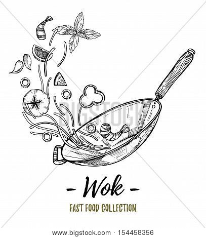 Hand Drawn Vector Illustration - Wok. Wok Pan, Chinese Noodles, Tomato, Pepper, Shrimp, Olive, Basil