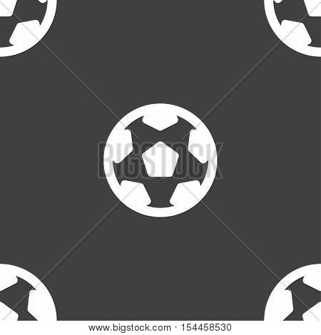 Football, Soccerball Icon Sign. Seamless Pattern On A Gray Background. Vector