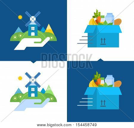 Concept of illustration - support for environmental cleanliness, clean food and natural products, delivery of clean food. Vector illustrations on a light and dark background.