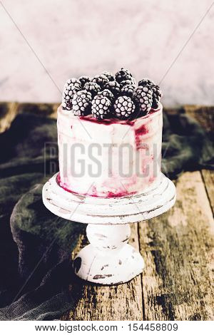 Birthday Cake With Berries On Wooden Vintage Table