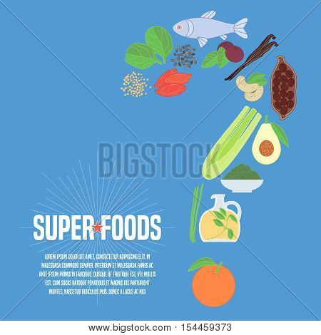 Selection of superfoods products, berries, greens in vector. Thin line icons, design elements, article with cocoa beans, wheatgrass, acai seeds, spirulina for super food concept
