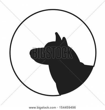 Silhouette of a dog head siberian husky. Companion and friend for man. Vector illustration