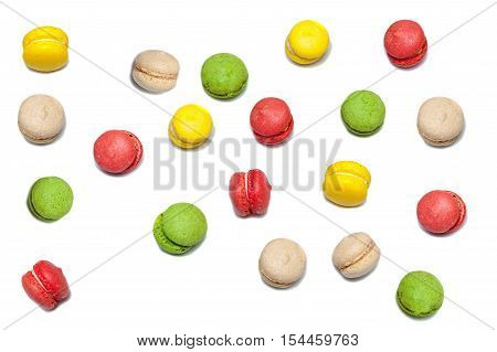 Macarons. Variegated macarons with different tastes and toppings.