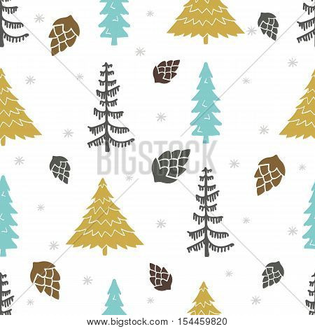 Seamless vector pattern with Christmas trees. Can be used for  pattern fills web page background surface textures gifts. Creative Hand Drawn textures for winter holidays.