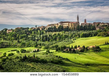 View Of The Town Of Pienza At Sunset