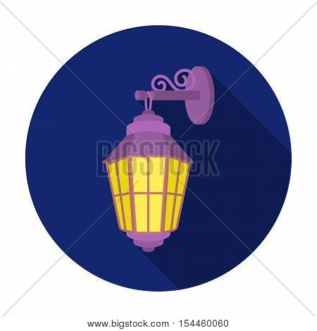 Street lantern icon in flat style isolated on white background. Light source symbol vector illustration