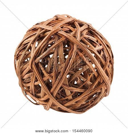 Wicker ball from a rod isolated on white