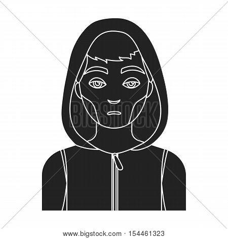 Drug addict man icon in black style isolated on white background. Drugs symbol vector illustration.
