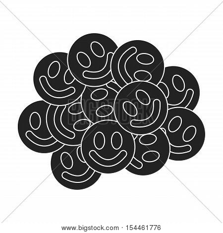 Ecstasy icon in black style isolated on white background. Drugs symbol vector illustration.