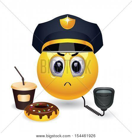 Strict smiley police officer on duty. Veteran police officer.