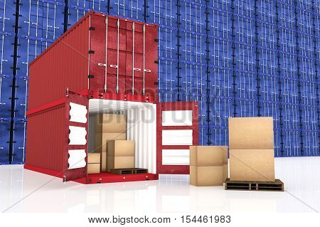 3D rendering : illustration of stacked red container with cardboard boxes inside the container with blue container wall in background business export import concept.