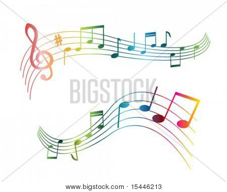 music note s of different colors