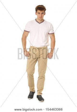Handsome Man In White Shirt And Brown Pants Isolated