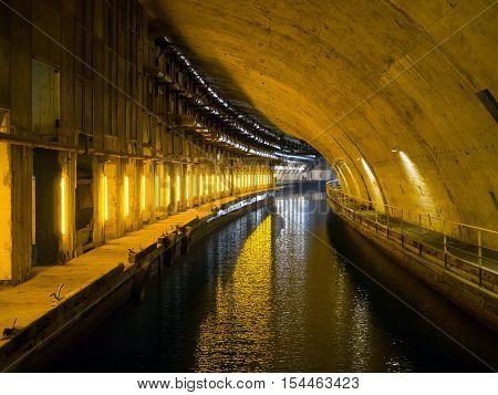 Balaklava, Russia - November 14, 2015: Canal dock underground museum complex Balaklava Crimea
