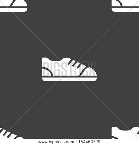 Shoe Icon Sign. Seamless Pattern On A Gray Background. Vector