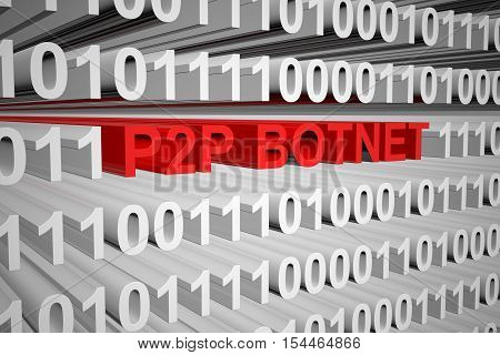 p2p botnet in the form of binary code, 3D illustration