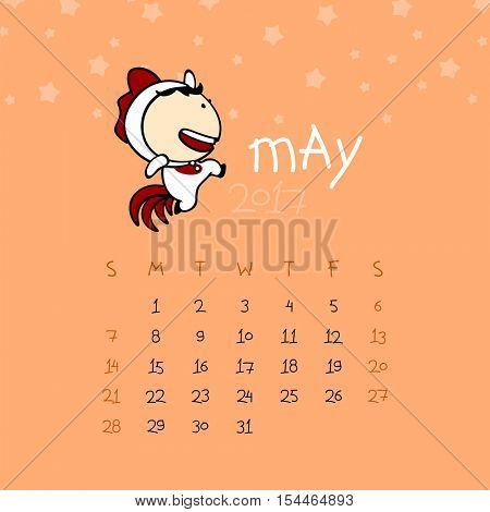 Calendar for the year 2017 - May (raster version)