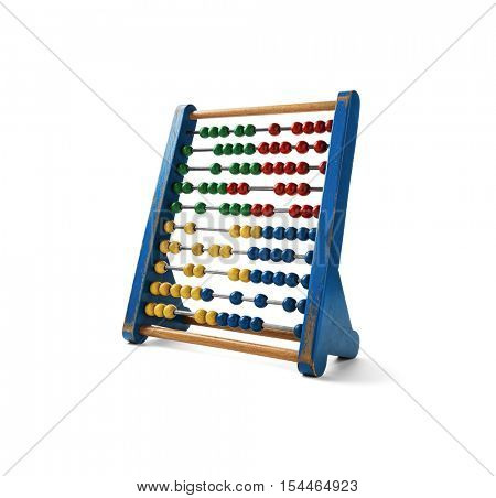 Education concept - Old wooden abacus with many colorful beads, Clipping Path