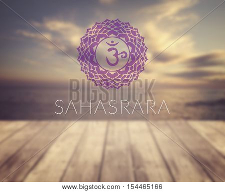Sahasrara chakra symbol. Poster for yoga class with a sea view.