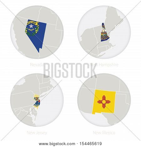 Nevada, New Hampshire, New Jersey, New Mexico US states map contour and national flag in a circle. Vector Illustration.