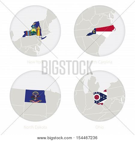 New York, North Carolina, North Dakota, Ohio US states map contour and national flag in a circle. Vector Illustration.