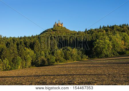 Hechingen Germany - October 02 2016: Burg Hohenzollern Castle in the evening light Hechingen Baden-Wurttemberg Germany.