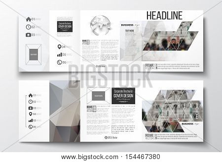 Vector set of tri-fold brochures, square design templates with element of world globe. Polygonal background, blurred image, view of cathedral Sakre-Ker, Paris cityscape, triangular vector texture
