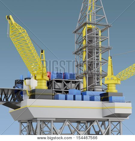 Oil Platform, Industry Offshore, Drill Technology. 3D Rendering