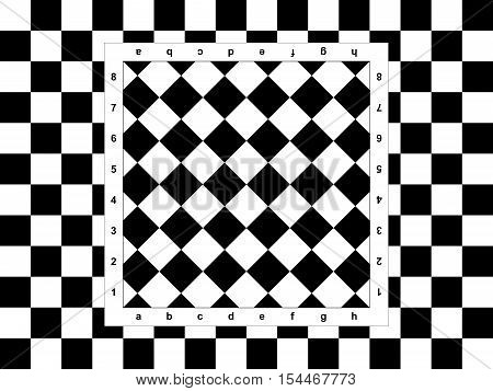 The diagonal chessboard on the checkered background