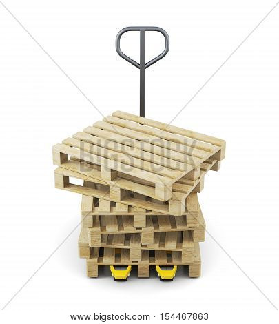 Stack Of Pallets On A Forklift Isolated On White Background. 3D Rendering