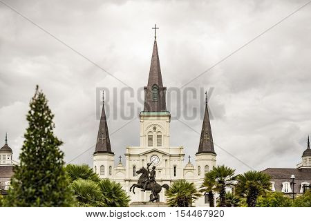 Saint Louis Cathedral in the French Quarter in New Orleans Louisiana.